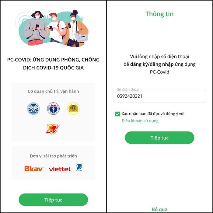 Nhập số điện thoại để đăng nhập vào ứng dụng