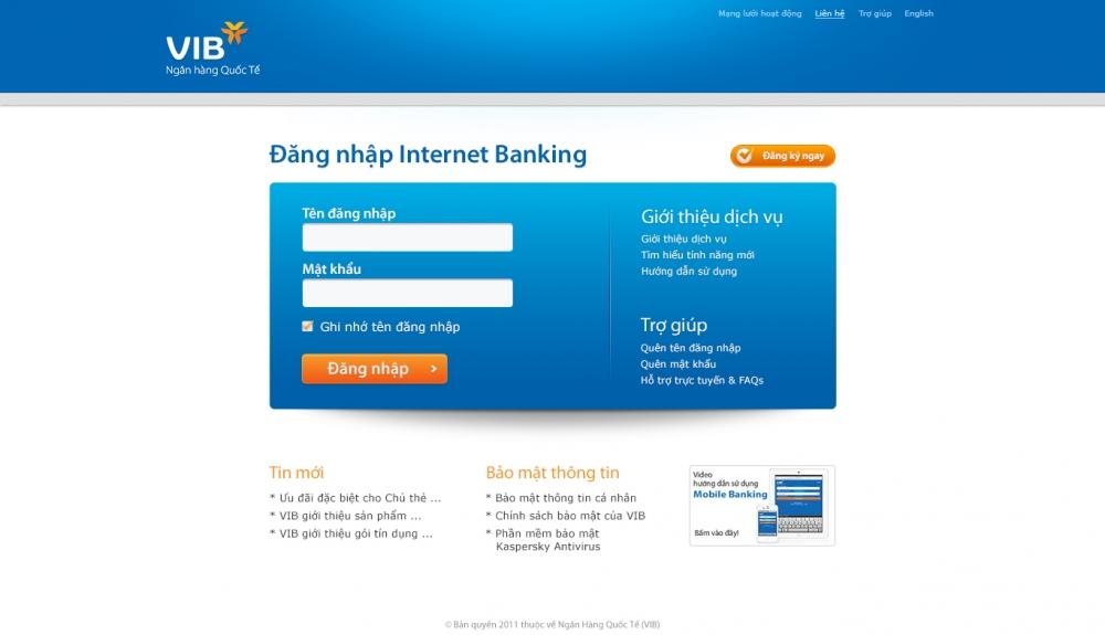 Màn hình đăng nhập đăng ký internet banking VIB